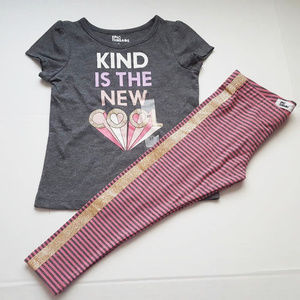 Gray Shirt Striped Pant Toddler Girl 3T Outfit Set